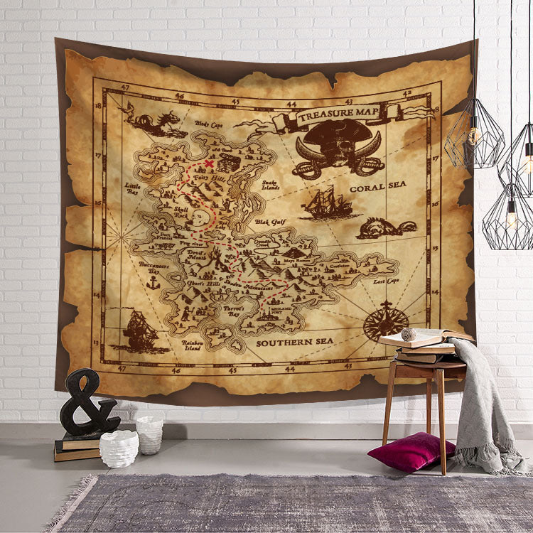 Retro Pirate Island Treasure Map Tapestry