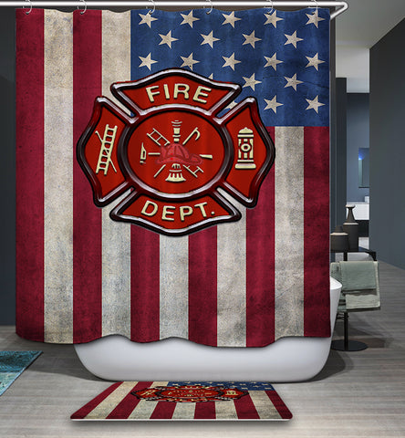 Retro Rescue Symbol Firefighter Shower Curtain