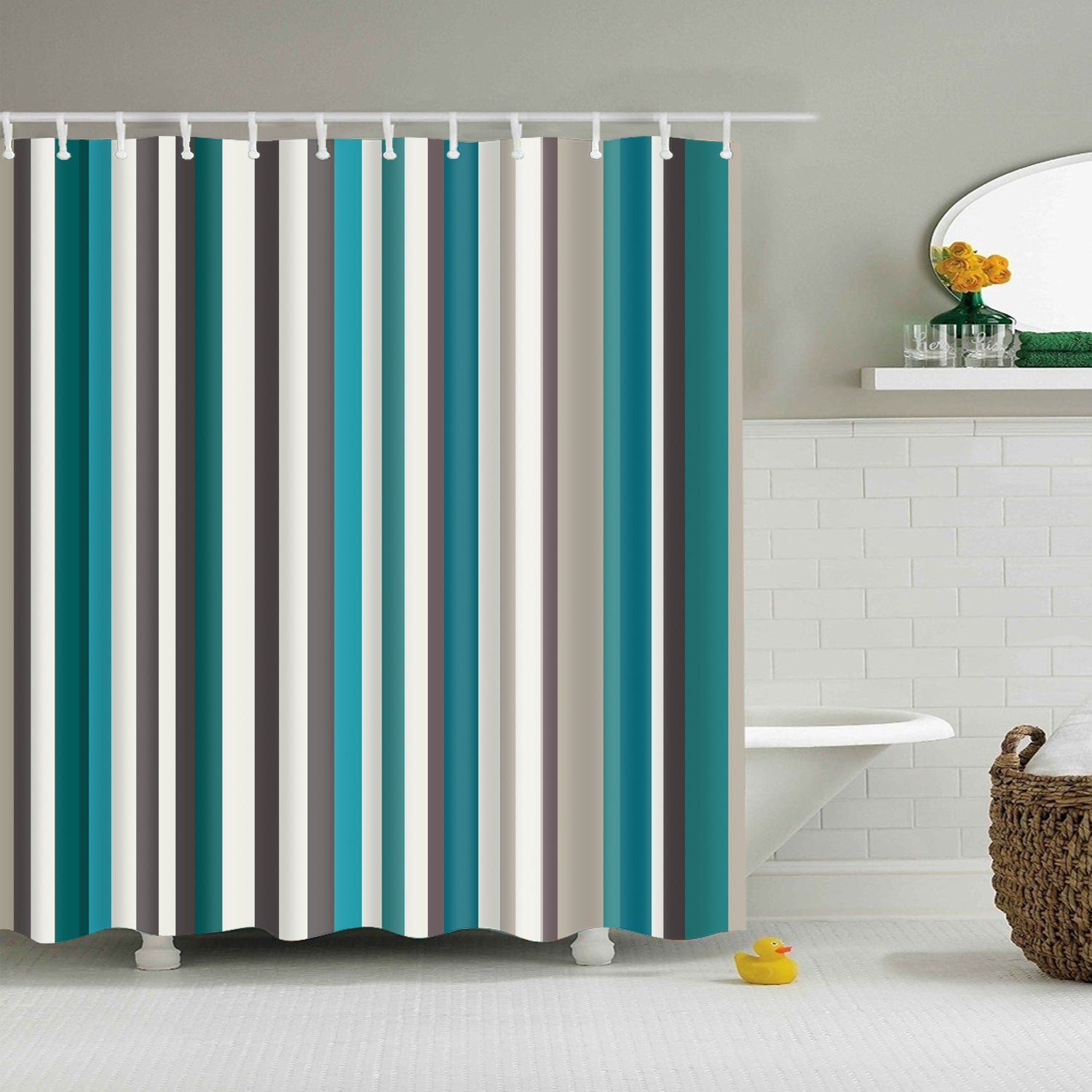 Retro Seamless Blue Stripes Shower Curtain