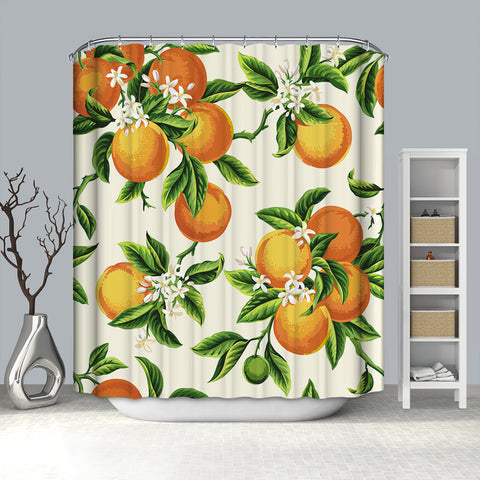 Retro Seamless Citrus Fruit Orange Leaves Shower Curtain
