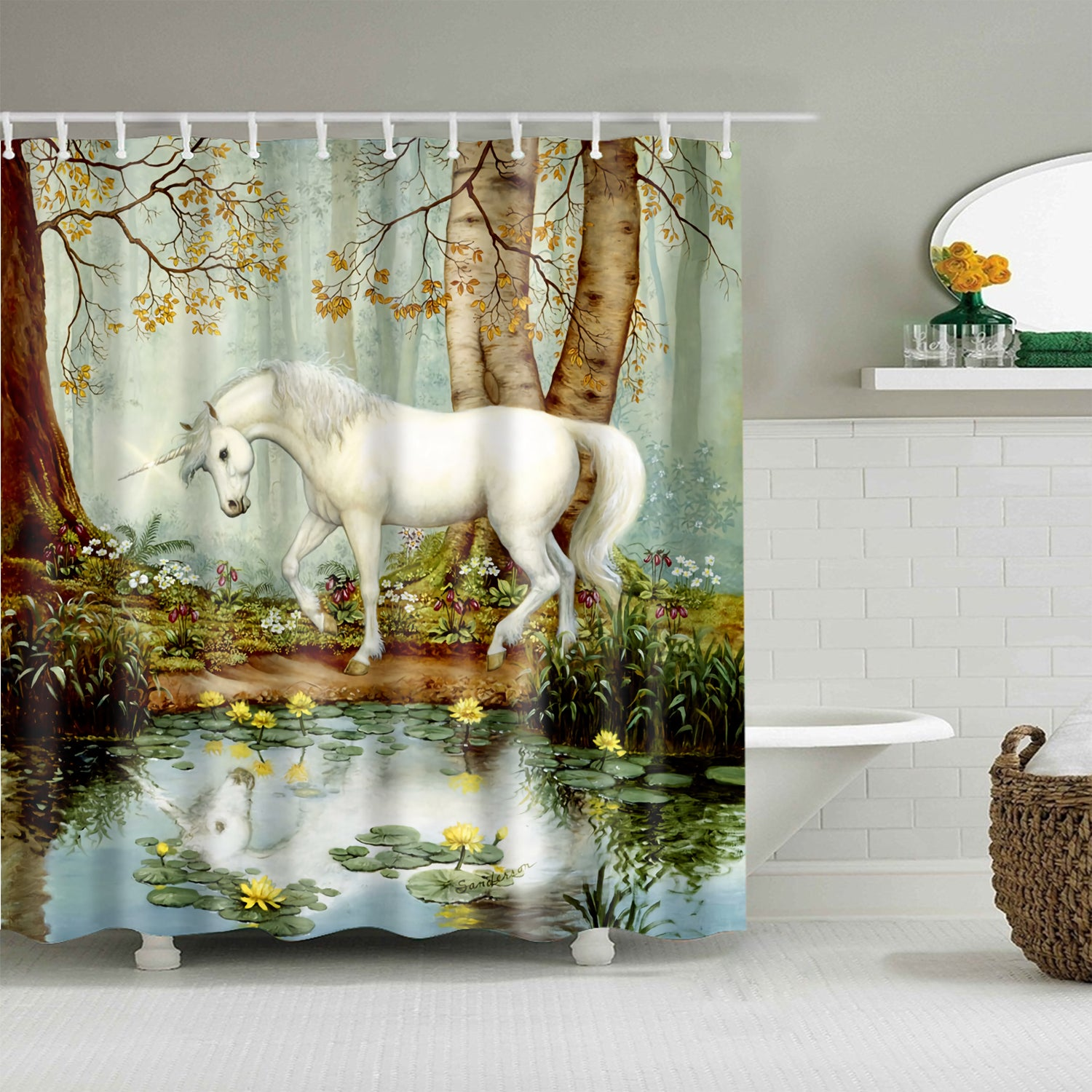 Retro Unicorn Walking Cross River Shower Curtain