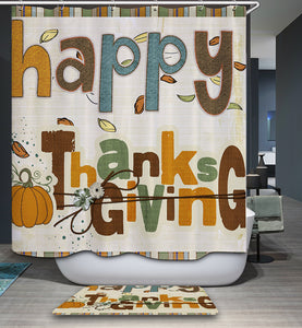 Retro Unique Thanksgiving Note Quotes Shower Curtain