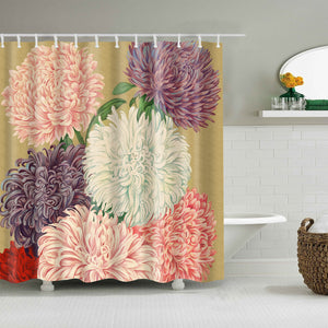 Retro Vintage Colorful Japanese Chrysanthemum Shower Curtain