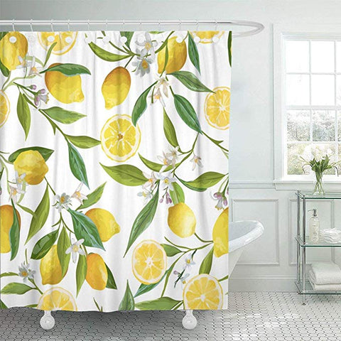Ripe Full Yellow Lemon Leaves Flowers Fruits Shower Curtain