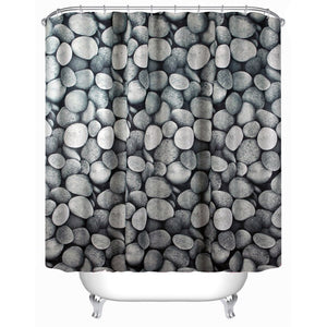 3D River Rock Pebble Shower Curtain | GoJeek