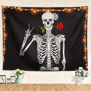 Rock and Roll Human Skull Posing with Rose Skeleton Tapestries