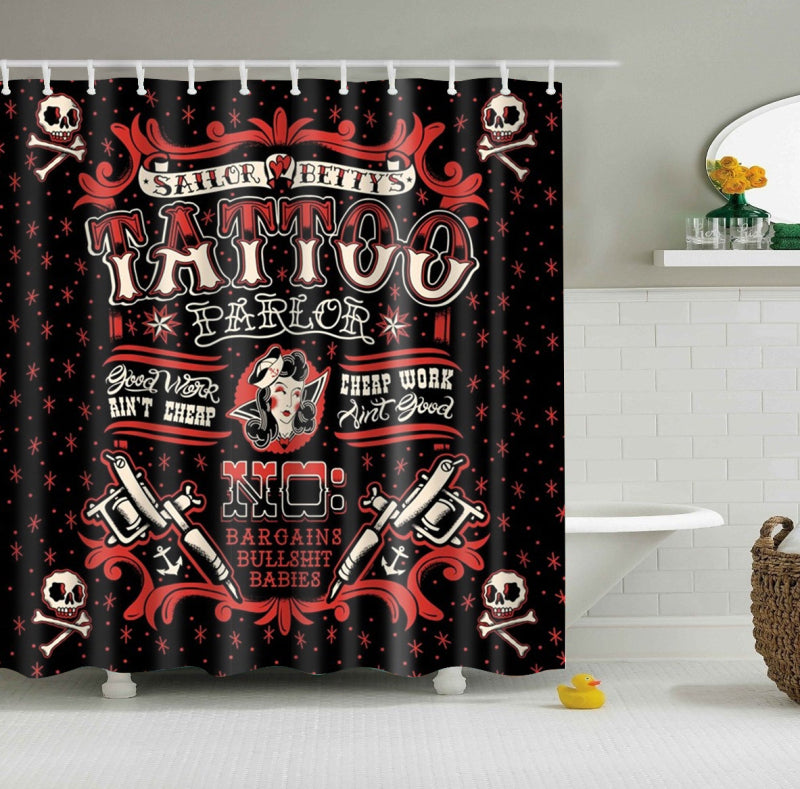 Rockabilly Sailor Bettys Tattoo Shower Curtain | GoJeek