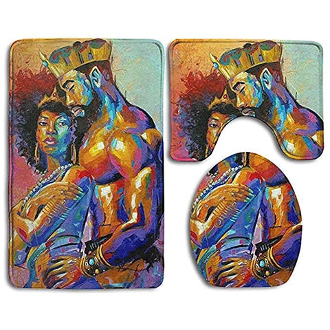 Roman Afro Queen and King Toilet Seat Cover