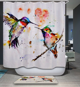 Romance Bird Couple Ink Painting Hummingbird Shower Curtain