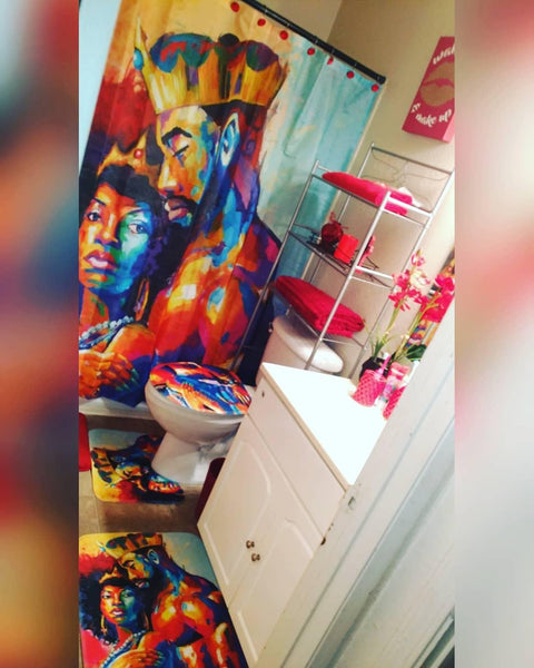 Romantic Afro Black King with Queen Shower Curtain Bathroom Decor