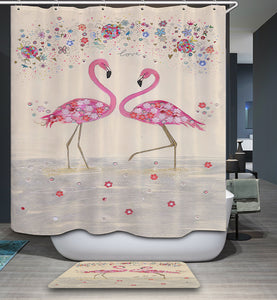 Romantic Couple Flamingo Floral Love Shower Curtain