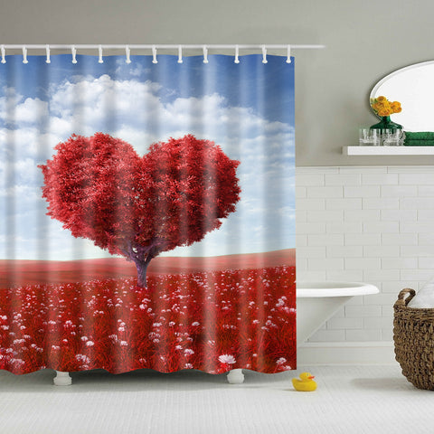 Romantic Heart Shaped Tree Shower Curtain | GoJeek