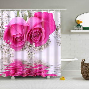 Romantic Pink Rose Nature Print Shower Curtain