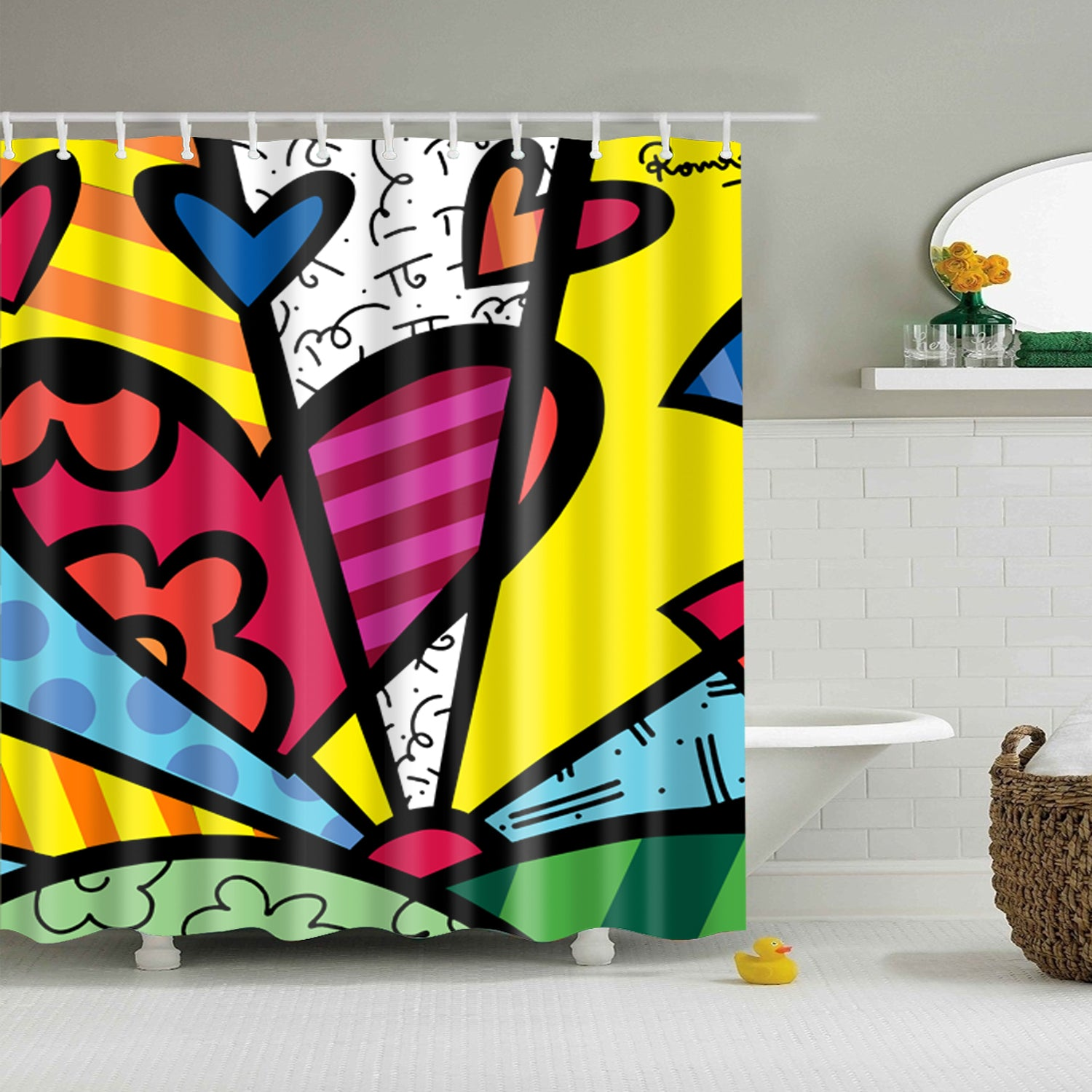 Romero Britto A New Day Find Inspiration Shower Curtain