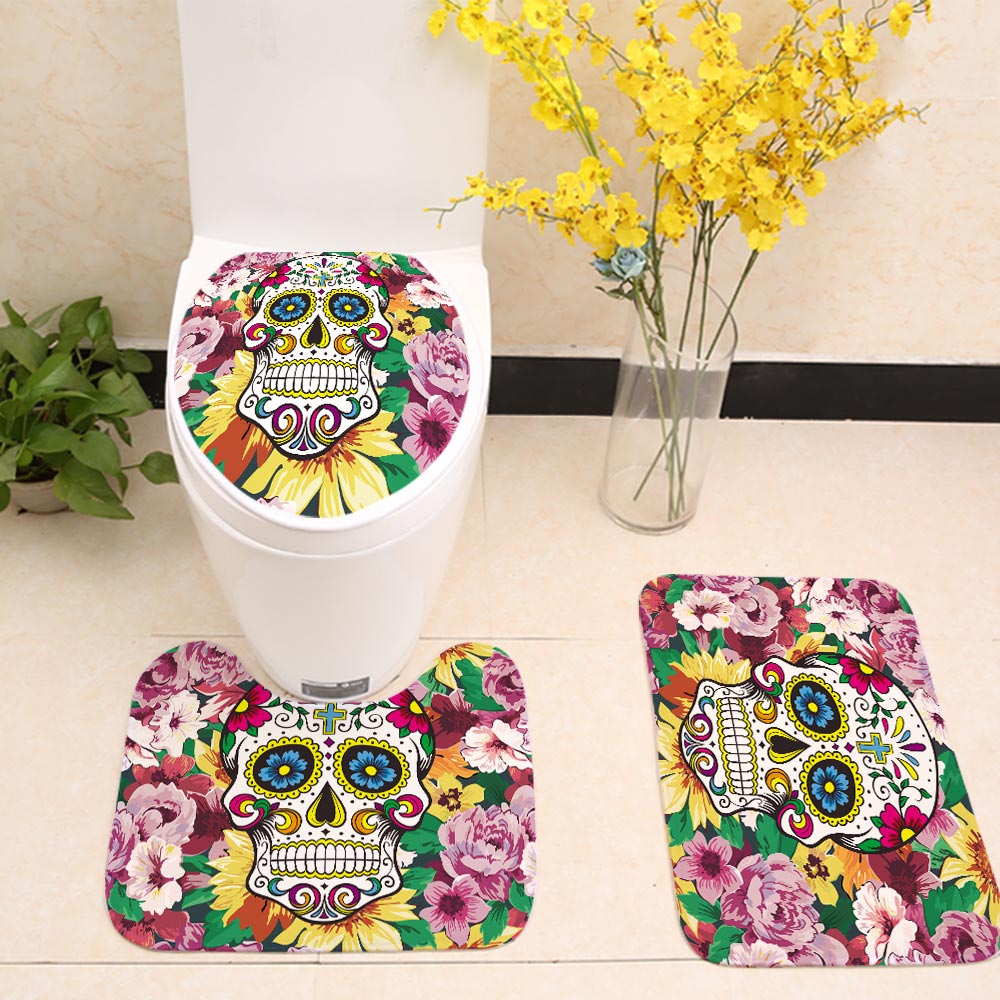 Rose Floral Backdrop Sugar Skull Toilet Seat Cover