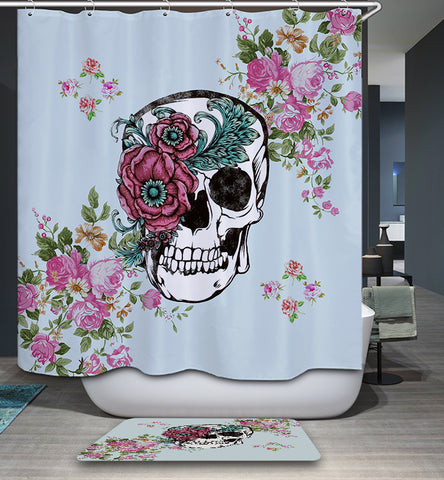 Rose Sugar Skull Calavera Shower Curtain