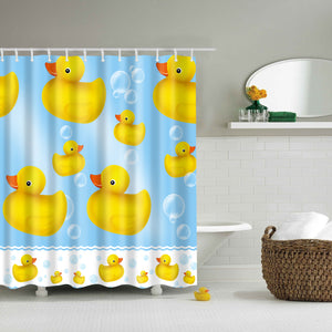 Rubber Duck Bubble Cartoon Kids Shower Curtain | GoJeek