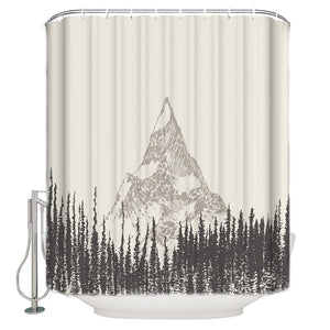Rustic Grey Drawing Art Forest with Peak Summit Mountain Shower Curtain