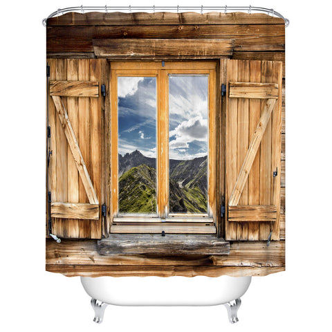Porta in legno rustica con finestra Scenario Tenda da doccia country occidentale