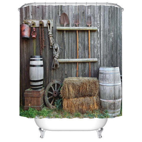 Rustic Wooden Fence Farm House Scenery Barn Tool Ranch Shower Curtain