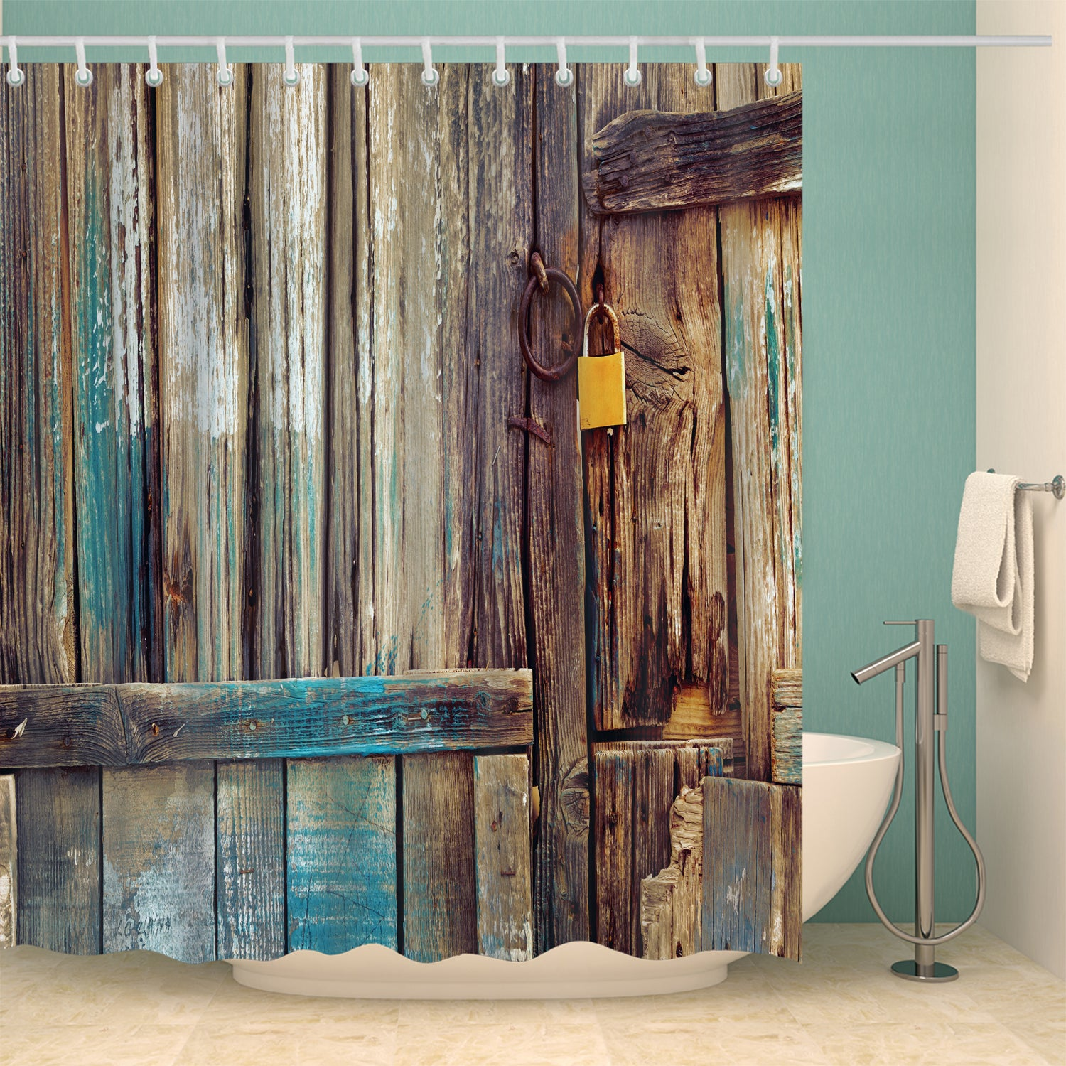 Rustic Aged Shed Old Wooden Door Shower Curtain