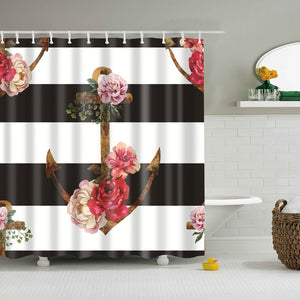 Rustic Anchor with Blossom Shower Curtain