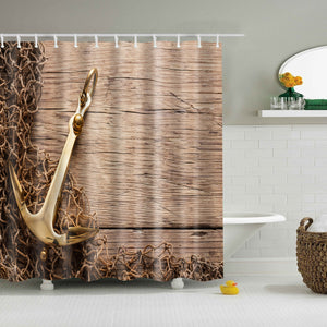 Rustic Fish Boat Anchor Shower Curtain