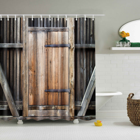 Rustic Simple Barn Door Wood Print Cortina de ducha