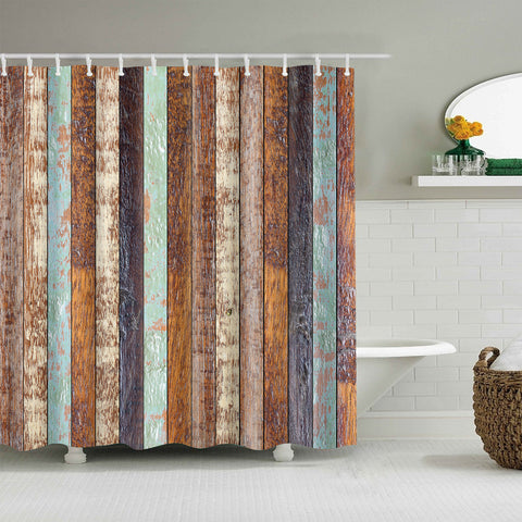 Rustic Vertical Plank Wood Floorboard Shower Curtain