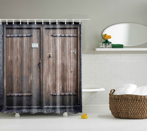 Rustic Weathered Barn Door Shower Curtain