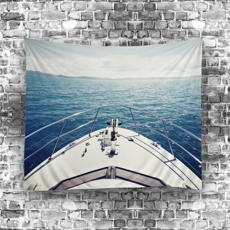 Sail Ship Toward The Horizon Tapestry