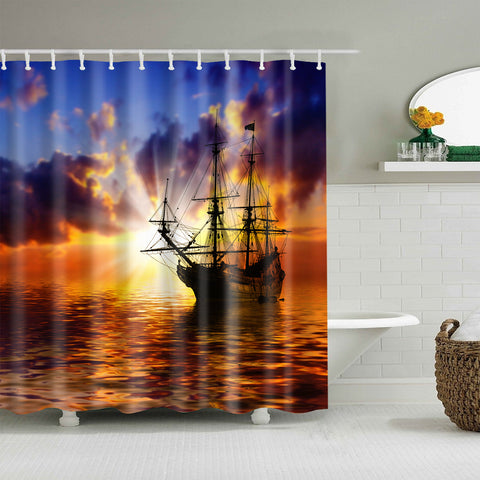 Sailboat Against Sunset Red Landscape Beautiful Scene Shower Curtain