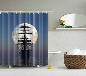Sailboat into the Moon Shower Curtain