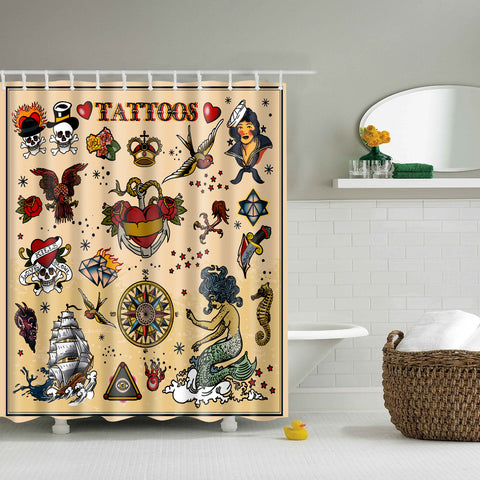 Sailor Jerry Tattoos Vector Shower Curtain