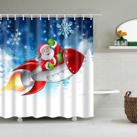 Santa Claus Cartoon Space Rocket Sleigh Winter Wonderland Shower Curtain