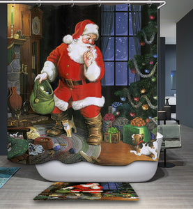 Santa Claus Sending Gift in House Shower Curtain