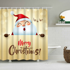 Santa Claus Singing Merry Christmas Shower Curtain