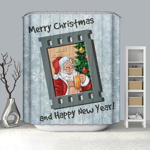 Santa Drinking Beer Film Shower Curtain