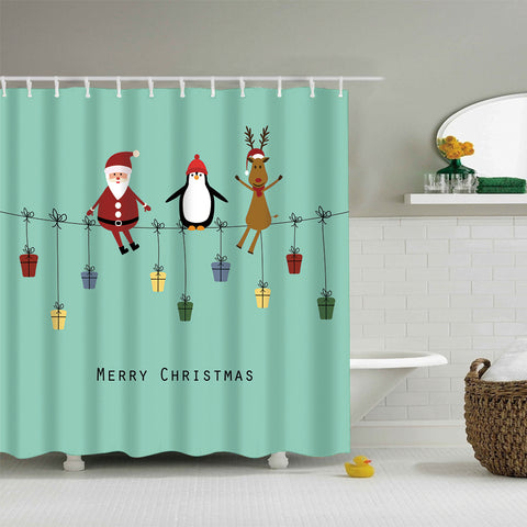 Santa Reindeer with Penguin Shower Curtain