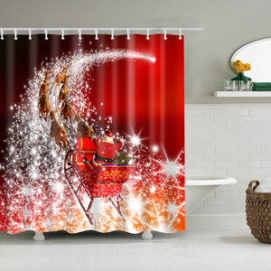 Santa Riding Sleigh Through The Star Shower Curtain