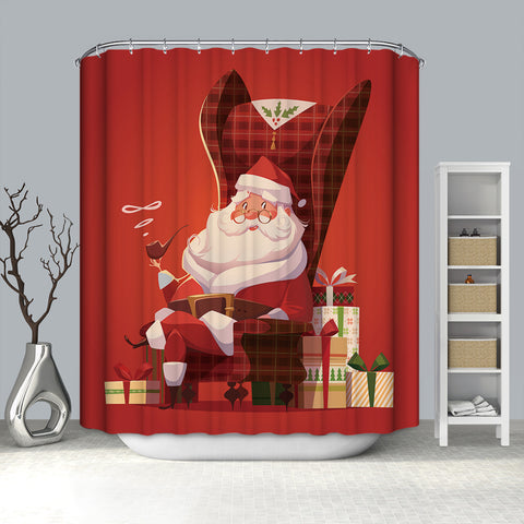 Santa Sitting on Chair with Gifts Smoking Shower Curtain