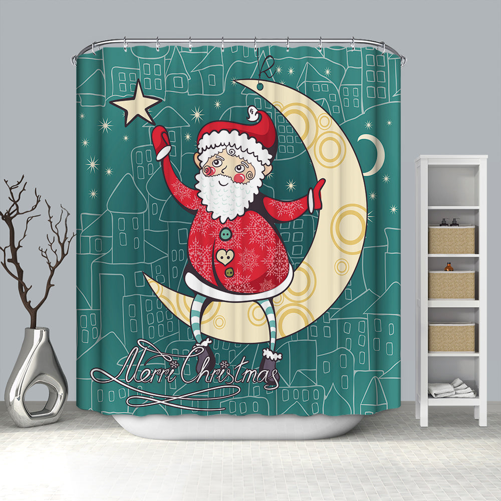 Santa Stand at the Moon Catching Star Shower Curtain