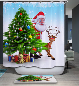 Santa With Reindeer Hide Behind the Christmas Tree Shower Curtain