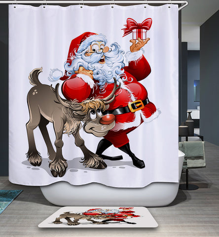 Santa With Reindeer Showing the Present Shower Curtain