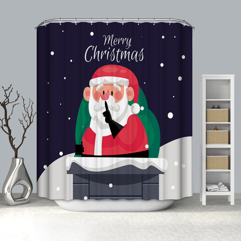 Santa at Chimney with Christmas Gifts Shower Curtain