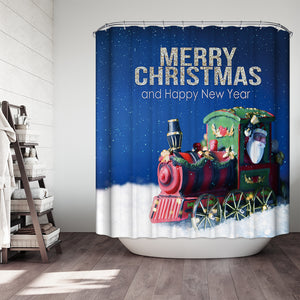Santa In The Train Shower Curtain