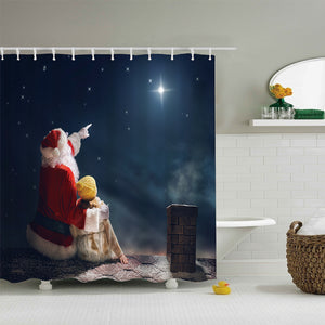 Santa With Cute Girls On The Roof Shower Curtain