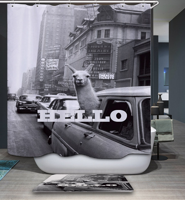 Say Hello Llama in Taxi Times Square Shower Curtain