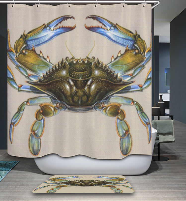 Scientific Blue Crab Shower Curtain | GoJeek