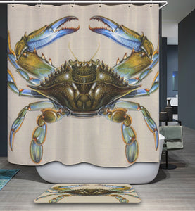 Scientific Blue Crab Shower Curtain